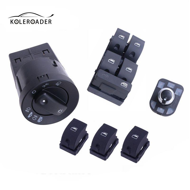 Koleroader negro linterna del coche vista trasera side Mirror Switch Control Ventanas Interruptores Botones eléctrica perilla para Audi A4 B6 Sedan