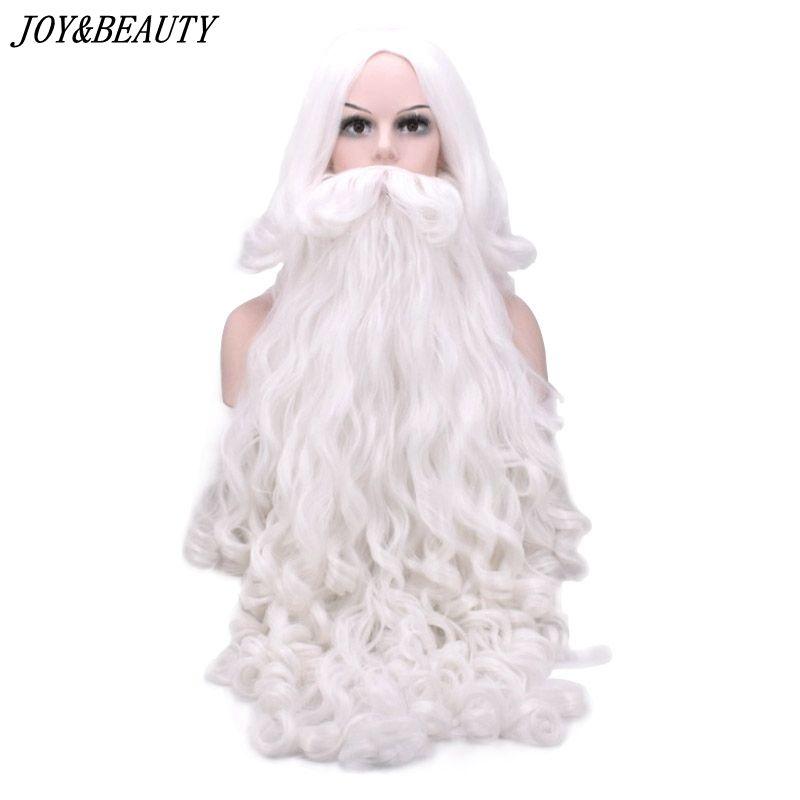 JOIE et BEAUTÉ Santa Claus Long Ondulé Perruque Blanc Santa Claus barbe ensemble Fantaisie Haute Température Fiber Cosplay perruque