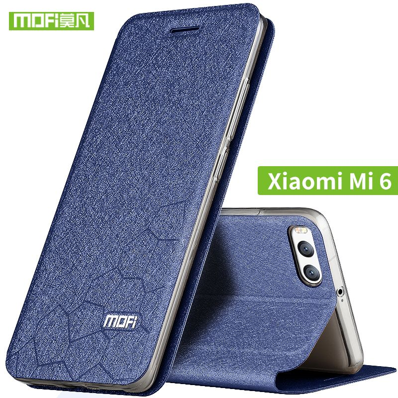 Xiaomi mi6 cas flip en cuir Mofi d'origine xiaomi mi 6 cas souple transparent couverture arrière de silicium xiomi 6 cas en métal dur armure