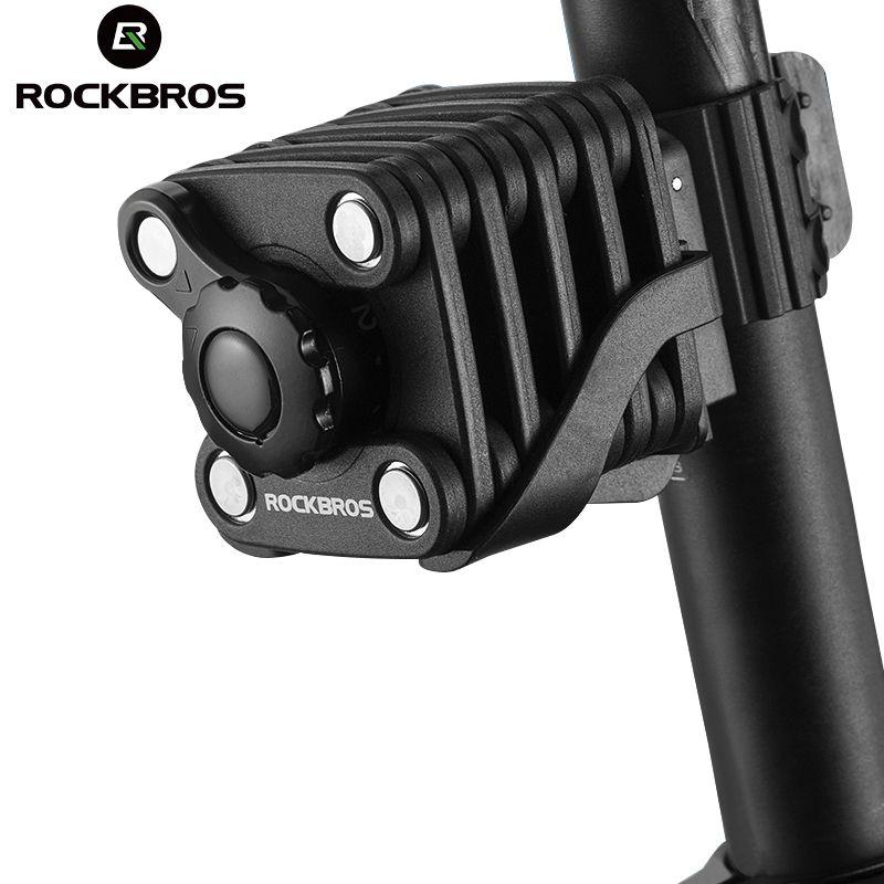ROCKBROS Mini Foldable Portable Bike Lock Ultra Strong Harden Steel Alloy Metal Anti-theft Security Drill Resistant Cube Lock