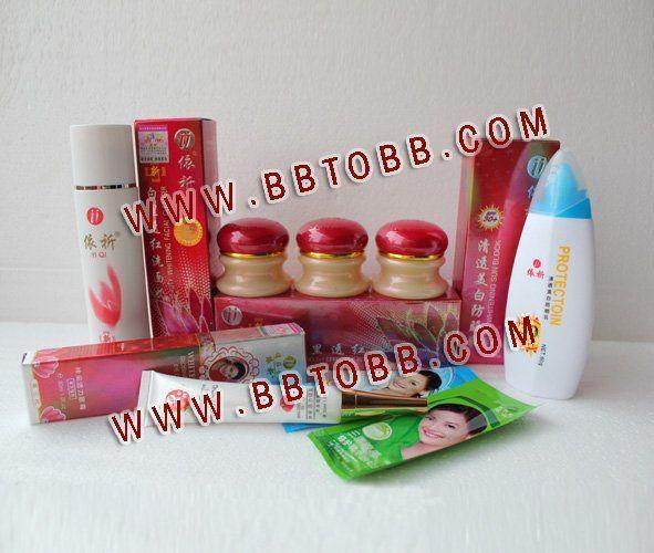 Livraison gratuite YiQi beauté blanchissant 2 + 1 efficace en 7 jours (ensemble de couverture rouge) + Yiqi Sunblock + Yiqi blanchissant brillant crème pour les yeux