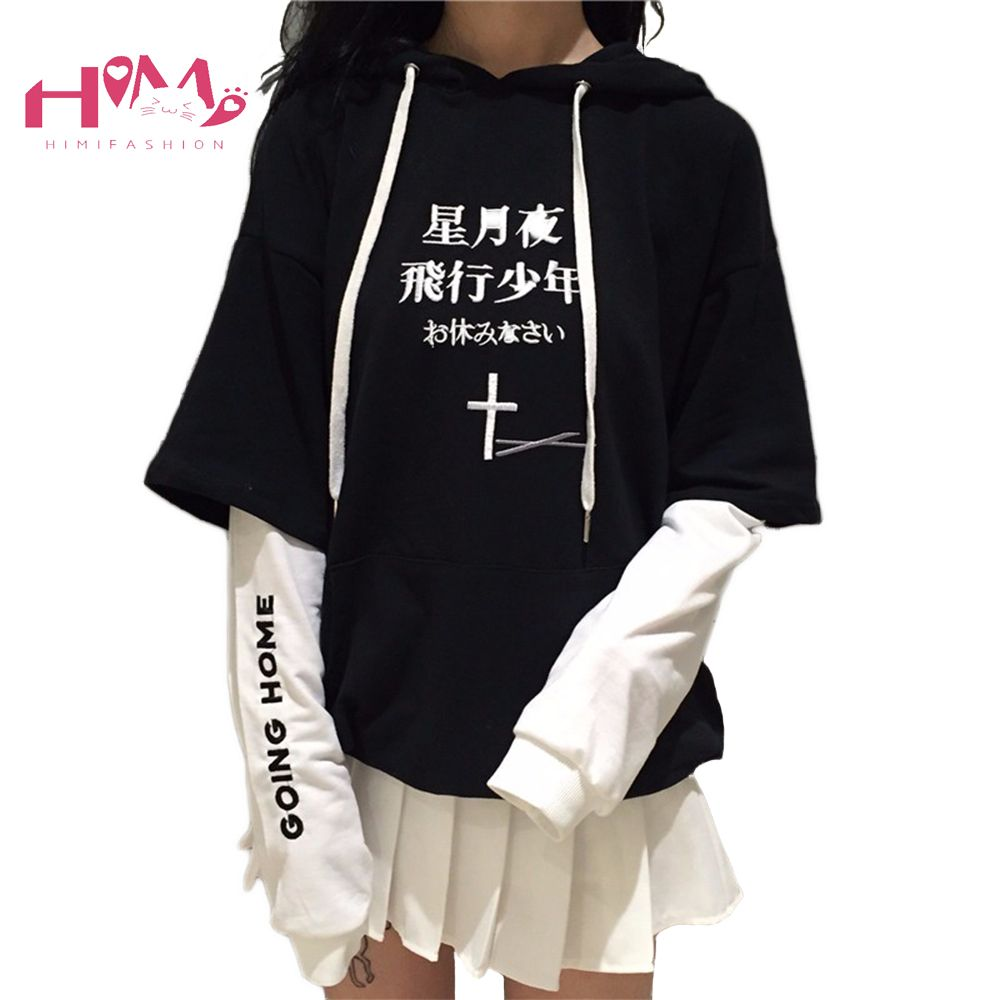 Harajuku Black White Cross Hoodie Sweater <font><b>Cool</b></font> Streetwear Fashion Long Sleeves Fleece Sweater Women Casual Patchwork Tops