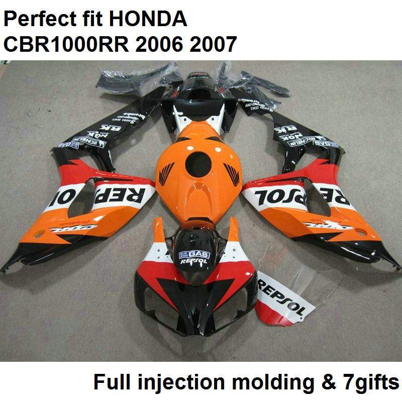 Fit 100% verkleidungen für honda injection blakc orange cbr1000rr 2006 2007 karosserie teile verkleidung kit cbr 1000rr 06 07 nv69