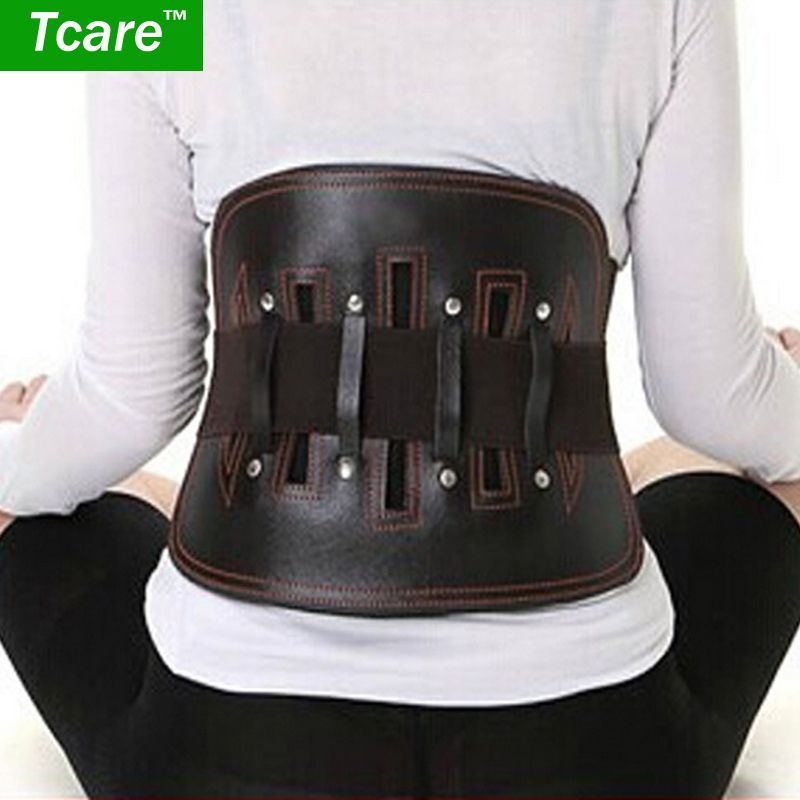* Tcare 1 pièces ceinture en cuir protège lombaire minceur bas du dos soutien taille lombaire orthèse mal de dos soulagement de la douleur soins de santé