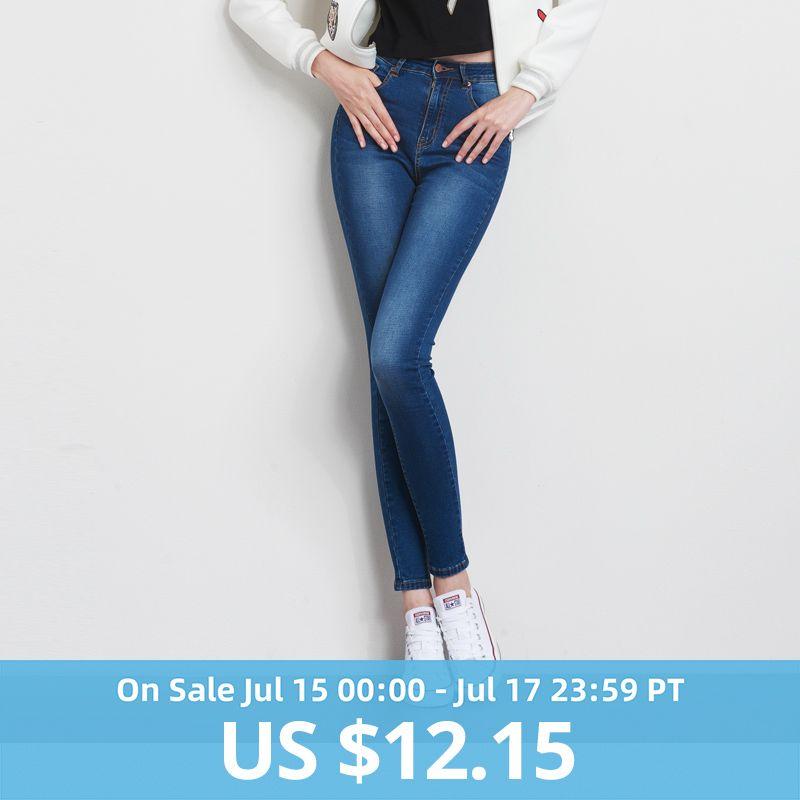 Jeans pour femmes maman Jeans taille haute Jeans femme haute élastique grande taille Jeans Stretch femme délavé denim skinny pantalon crayon