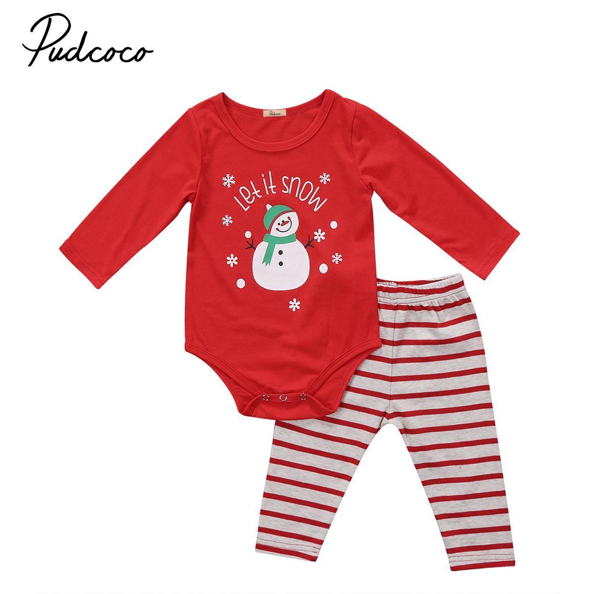 Младенцев 2 шт. Рождественский комплект одежды для новорожденных Для маленьких мальчиков Обувь для девочек Санта Рождество Боди Комплект с...