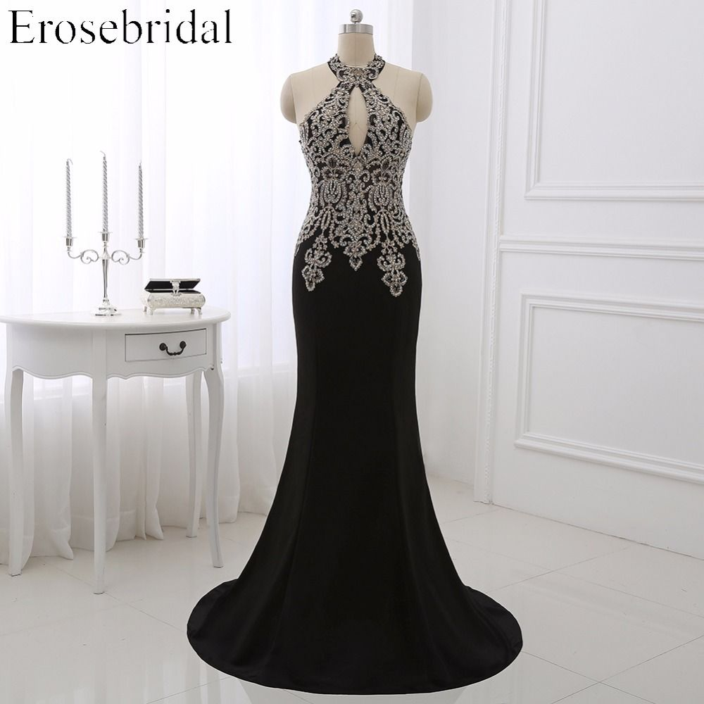 2018 Black Mermaid Evening Dress Plus Size Erosebridal Gold Appliques Bodice Formal Women Party Gowns Halter Dresses ZDH04