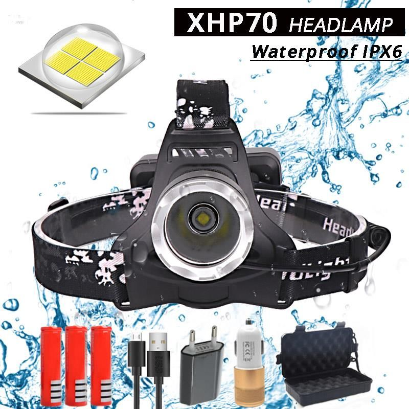 40000ml XHP70 Led headlamp powerful Headlight head lamp 40w flashlight torch Head light USB Rechargeable LED Headlight