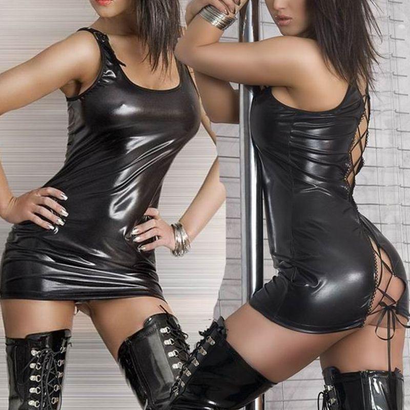 Femmes Sexy Lingerie chaude pôle danse Costumes Faux justaucorps Unitard cuir érotique Lingerie Latex robe vêtements exotiques Pluse taille 2