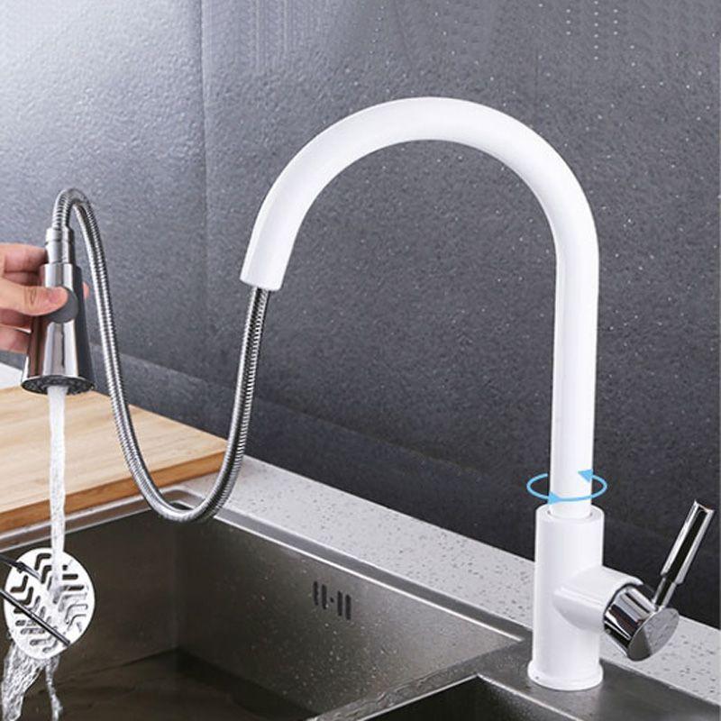 Tirer sur le robinet de cuisine pulvérisateur Chrome pont monté 360 degrés de luxe blanc chaud et froid flux d'eau mélangeur salle de bains robinet évier