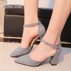 2018 Sandalias femeninas tacones altos otoño Flock punta Sandalias con tacones altos mujer verano Zapatos mujer Sandalias mujer s040