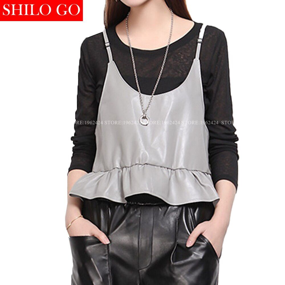 SHILO GO Fashion Street Women's Casual Cute Adjustable Sling Ruffes Sheepskin Genuine Leather Short Camis Ladies Concise Camis
