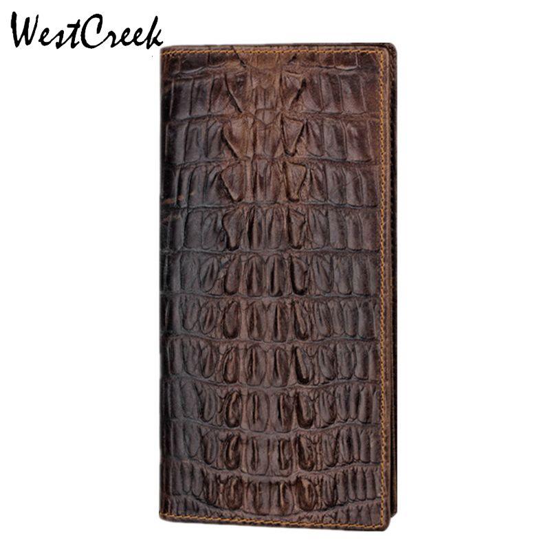 WESTCREEK conception Unique motif Crocodile en cuir véritable hommes Long portefeuille pas cher par GMW004