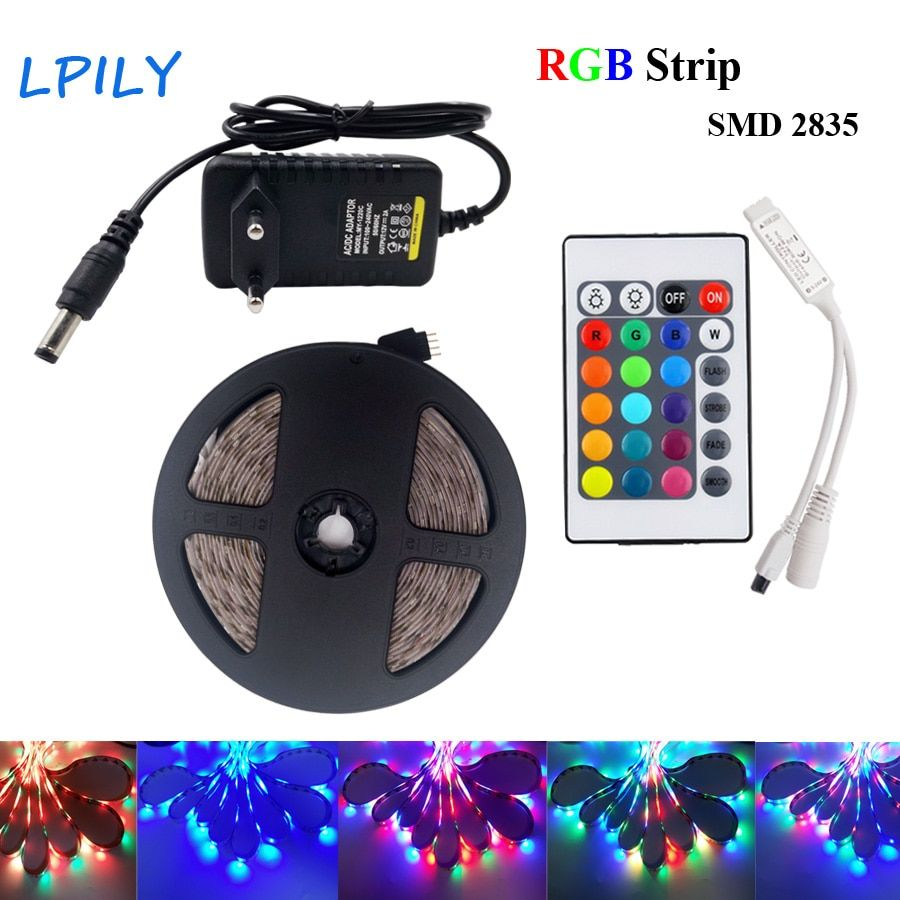 IPILY LED Strip light rgb 5m 10m 2835 3528 rgb diode led tape ribbon Waterproof led tape with adapter and remote controller
