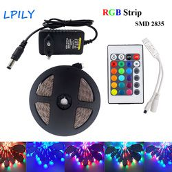 LED Strip light rgb 5m 10m 2835 3528 rgb diode led tape ribbon Waterproof led tape with adapter and remote controller