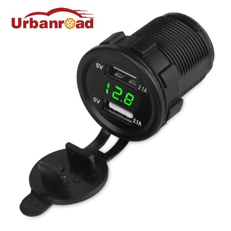 Universel 2.1A 12 v Moto Voiture USB Chargeur Voltmètre Socket Bateaux Double Usb Auto Chargeur Avec Tension Power Meter Adaptateur 5 v