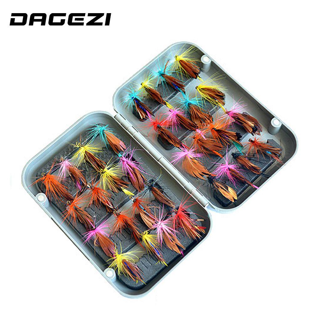 DAGEZI 32 pièces/ensembles leurre de pêche à la mouche set appât artificiel truite mouche leurres de pêche hameçons de pêche boîte de matériel de pêche
