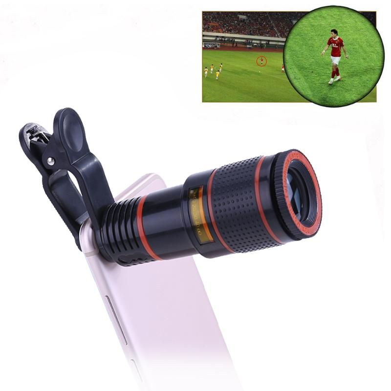 Alloet Universal 12X Optical Zoom Mobile Phone Lens, Long Focus Telescope Clip Camera Lens for Sumsung Huawei Phones