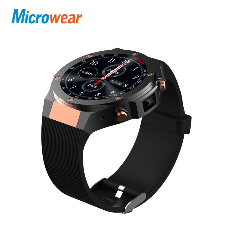Microwear H2 android ios 1G+<font><b>16GB</b></font> Smart watch 1.39 inch mtk6580 SmartWatch phone 3G wifi GPS 5M heart rate nano SIM GSM WCDMA
