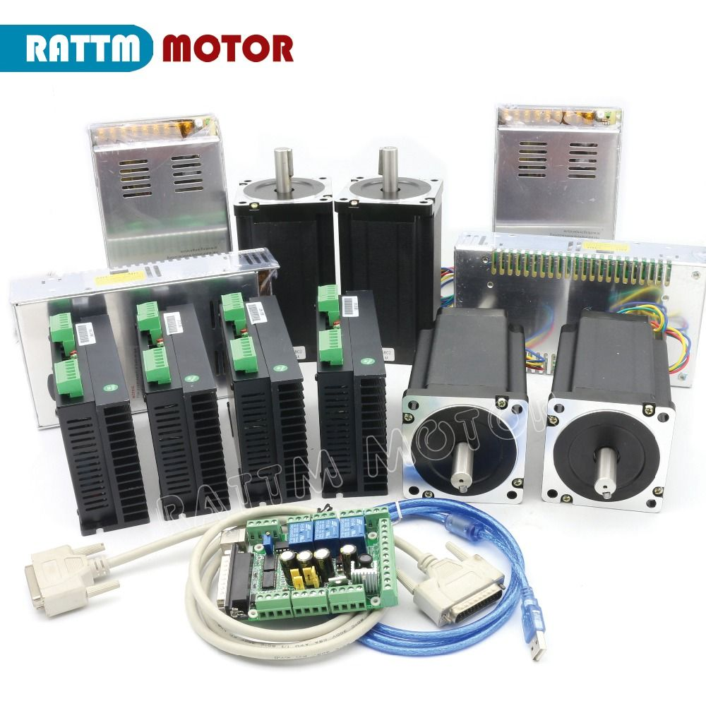 RU/EU/Germany Delivery!! NEW 4 Axis (Dul shaft )NEMA34 1600 oz-in torque stepper motor CNC Kit for Large size Router Mill