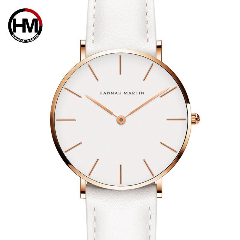 Livraison directe japon Quartz Simple femmes montre de mode bracelet en cuir blanc dames montres marque étanche montre-bracelet 36mm