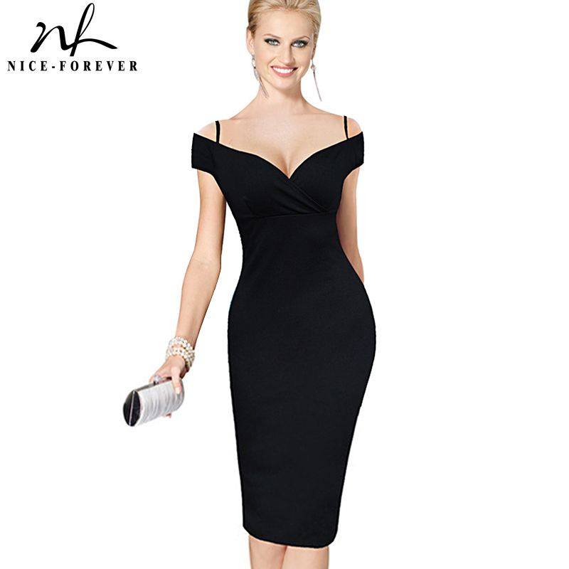 Nice-forever New Sexy Elegant Solid Stylish Casual Work <font><b>Strap</b></font> Slash Neck Bodycon Knee Midi Women Formal Pencil Dress B309