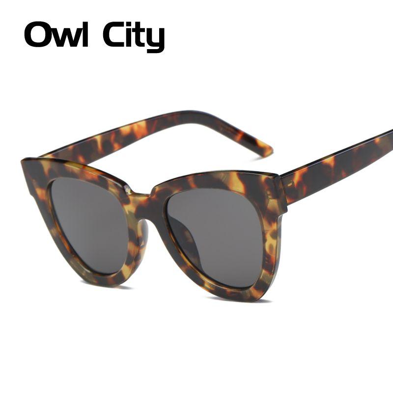 Owl City Cat Eye Femmes Lunettes De Soleil De Luxe Marque Designer Acétate Cadre Gradient Lentilles Homme Femme Big Cateye Nuances UV400