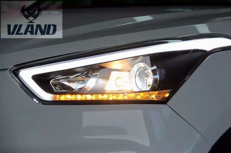 VLAND Factory for Car head lamp for IX25 LED Headlight 2014 015 2016 ix25 Head light with xenon HID projector lens and Day