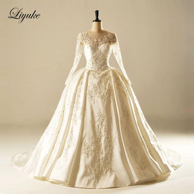 Liyuke Glamorous Satin Scalloped Neckline Ball Gown Wedding Dress Chapel Train Ball Gown Bridal Dress New Arrival