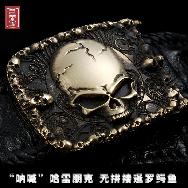 genuine Crocodile leather punk harley skull brass metal belt hiphop jeans belt 3d carving