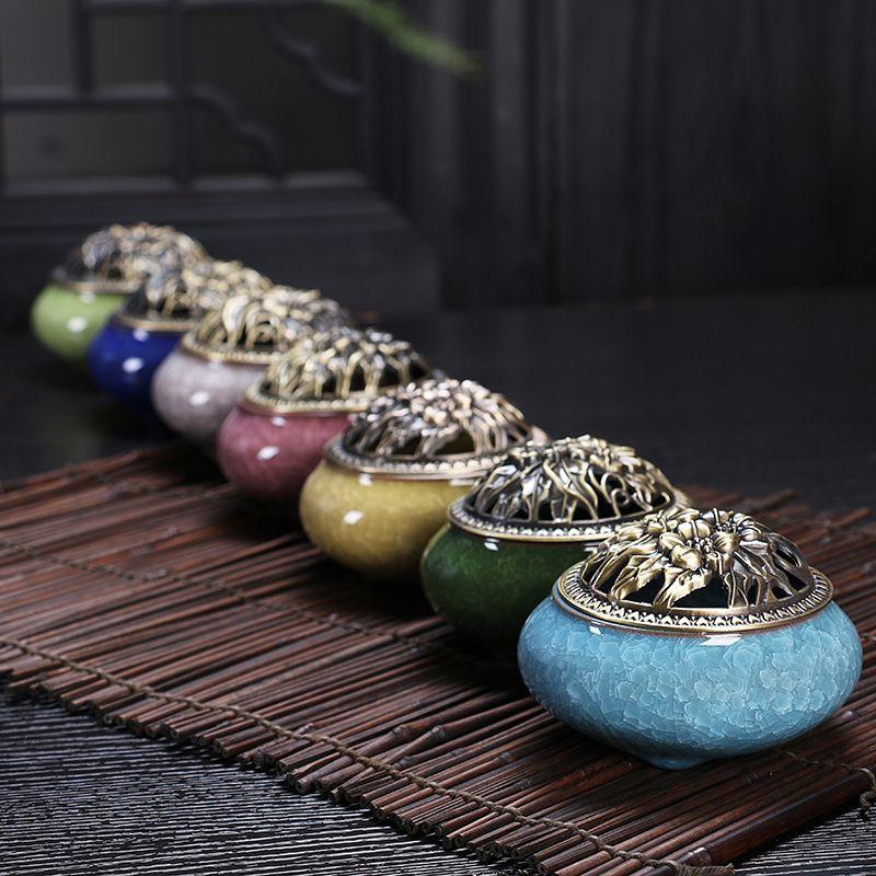 1 pc brûleur d'encens en céramique couvercle en cuivre glace fissure glaçure Variable céramique chinoise colorée