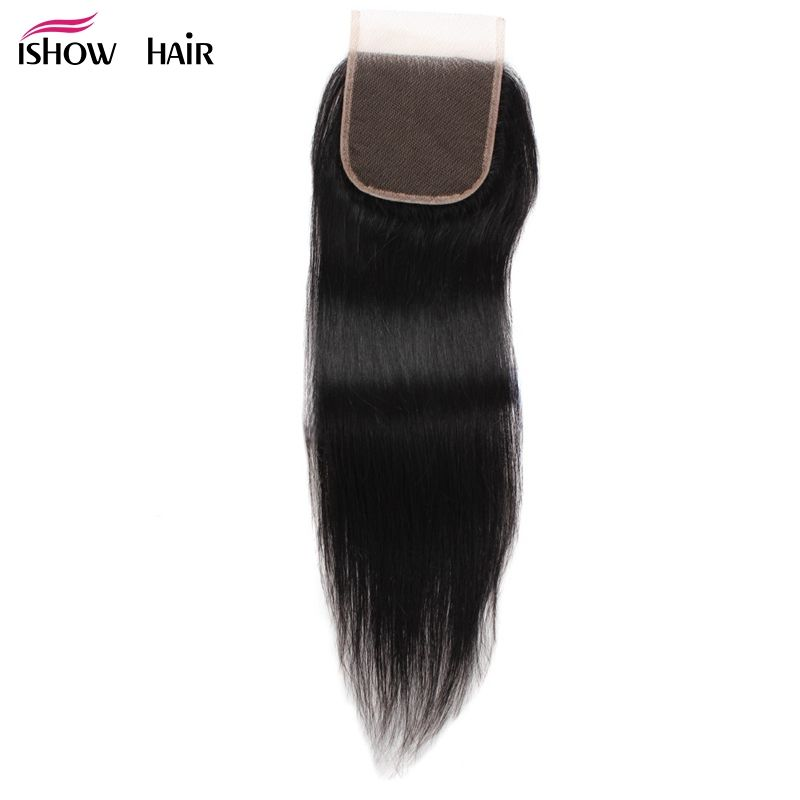 Ishow Lace Closure Malaysian Straight Hair Human Hair Closure With Baby Hair Free Middle Three Part 1pc/lot Non Remy Hair