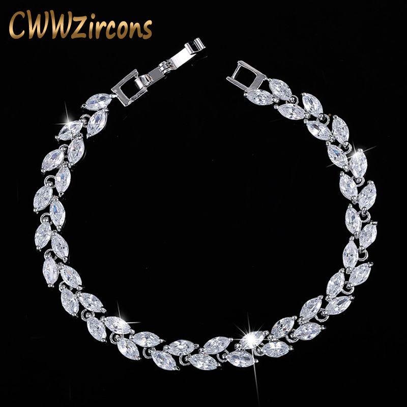 CWWZircons nouveau à la mode 2019 cubique zircone bijoux argent couleur feuille charme CZ cristal femme Bracelets Bracelets pour femmes CB060
