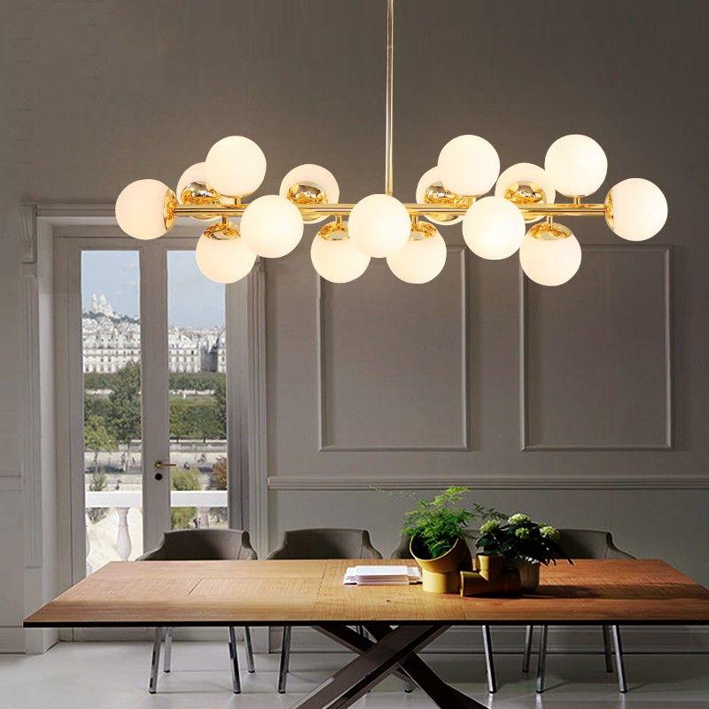 16 köpfe Postmodernen Gold Loft Anhänger Licht Kunst Kreative Magische Bohnen Hängen Licht Esszimmer Bar Küche Led Licht Kostenloser verschiffen