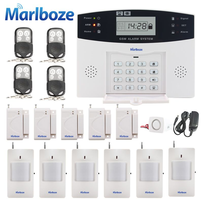 Russian/French/Spanish Voice Prompt GSM SIM Home Burglar Security Alarm System Remote Control Kit Infrared <font><b>Detector</b></font> Door Sensor