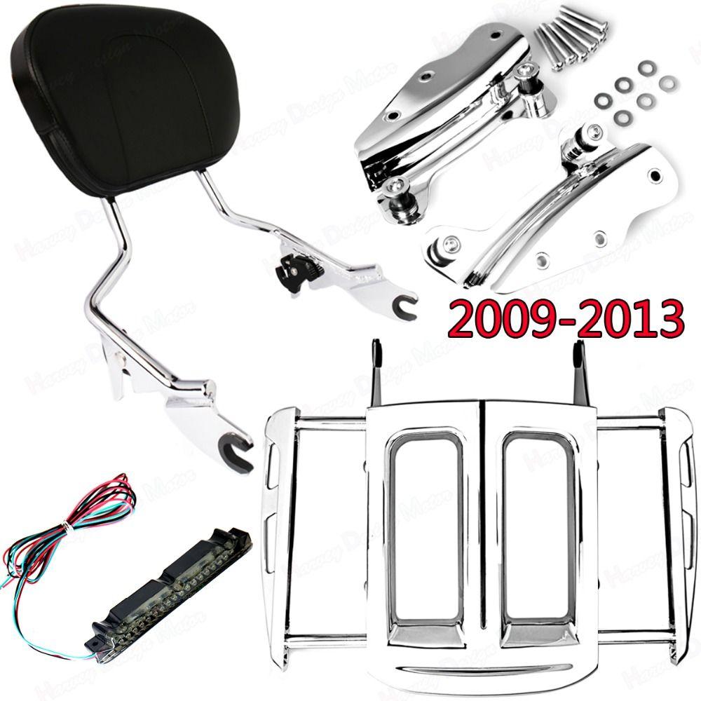 Chrome 4Point Hardware Kit&Adjustable Two-Up Luggage Rack&Sissy Bar Backrest Harley Street Glide Road King FLHX FLHR 2009-2013