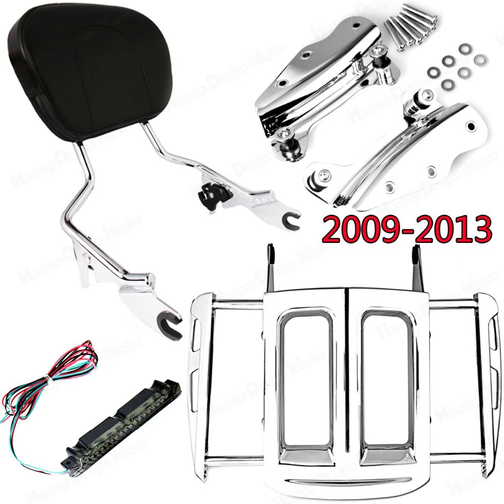 Chrome 4Point Hardware Kit&Adjustable Two-Up Luggage Rack&Sissy Bar Backrest Harley Street Glide Road King FLHX FLHR 2009-2013