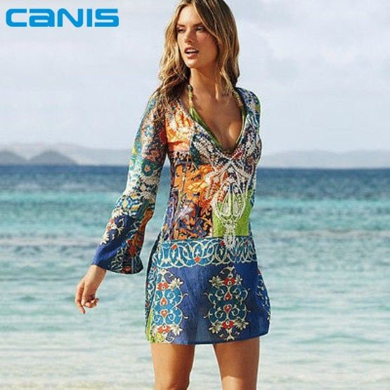 2016 Summer Style Women Sexy Swimsuit Cover Up Long Sleeve Bikini Cover Ups Chiffon Flower Beach Mini Dress Robe Vestidos