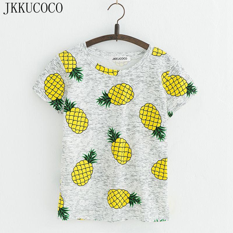 JKKUCOCO Chaude Style Ananas Impression T-shirts À Manches Courtes T-shirt Femmes t shirt D'été Coton t-shirt Femmes Tops Causal t-shirts