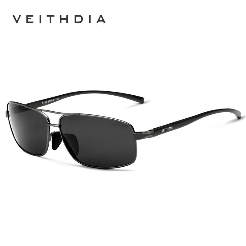 VEITHDIA Brand Polarized Men's Vintage Sunglasses <font><b>Aluminum</b></font> Frame Sun Glasses Men Goggle Eyewear Accessories For Men 2458