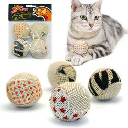 4 قطعة/الحزمة الكرة لعبة القط القط التفاعلية اللعب اللعب مضغ حشرجة الصفر صيد الحيوانات الأليفة هريرة القط Exrecise لعبة كرات