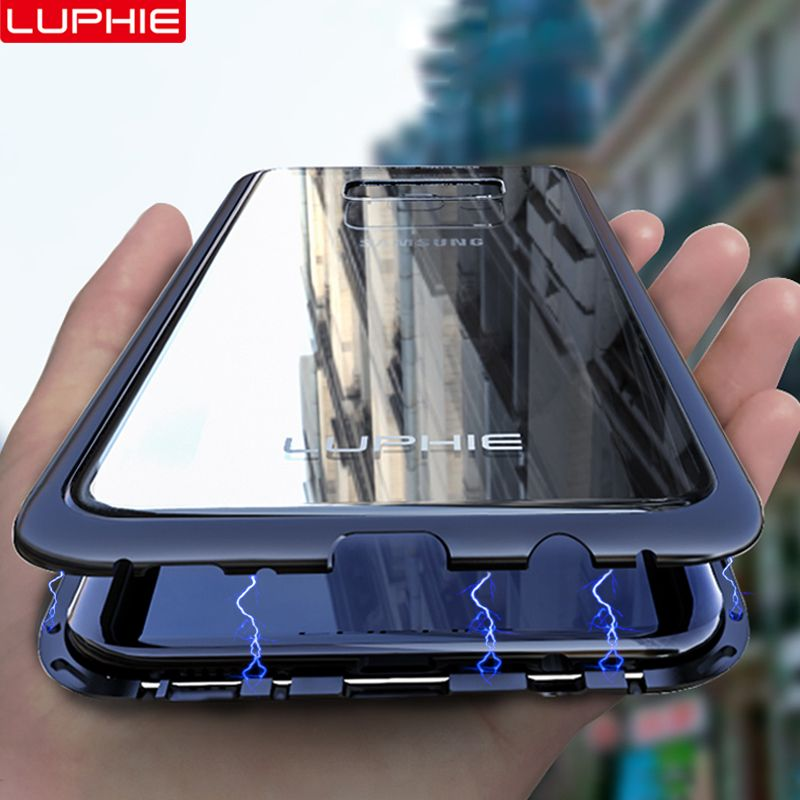 LUPHIE Magnétique Boîtier Métallique Pour Samsung Galaxy S9 S8 Plus Note 8 9 Aimant Cas Pare-chocs Couvercle En Verre Transparent Pour samsung Note 9 8 Cas