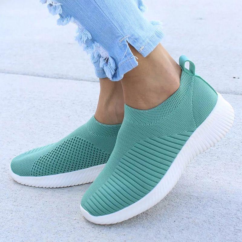 Chaussures femmes tricot chaussette baskets femmes printemps été sans lacet chaussures plates femmes grande taille mocassins appartements marche krasovki Famela