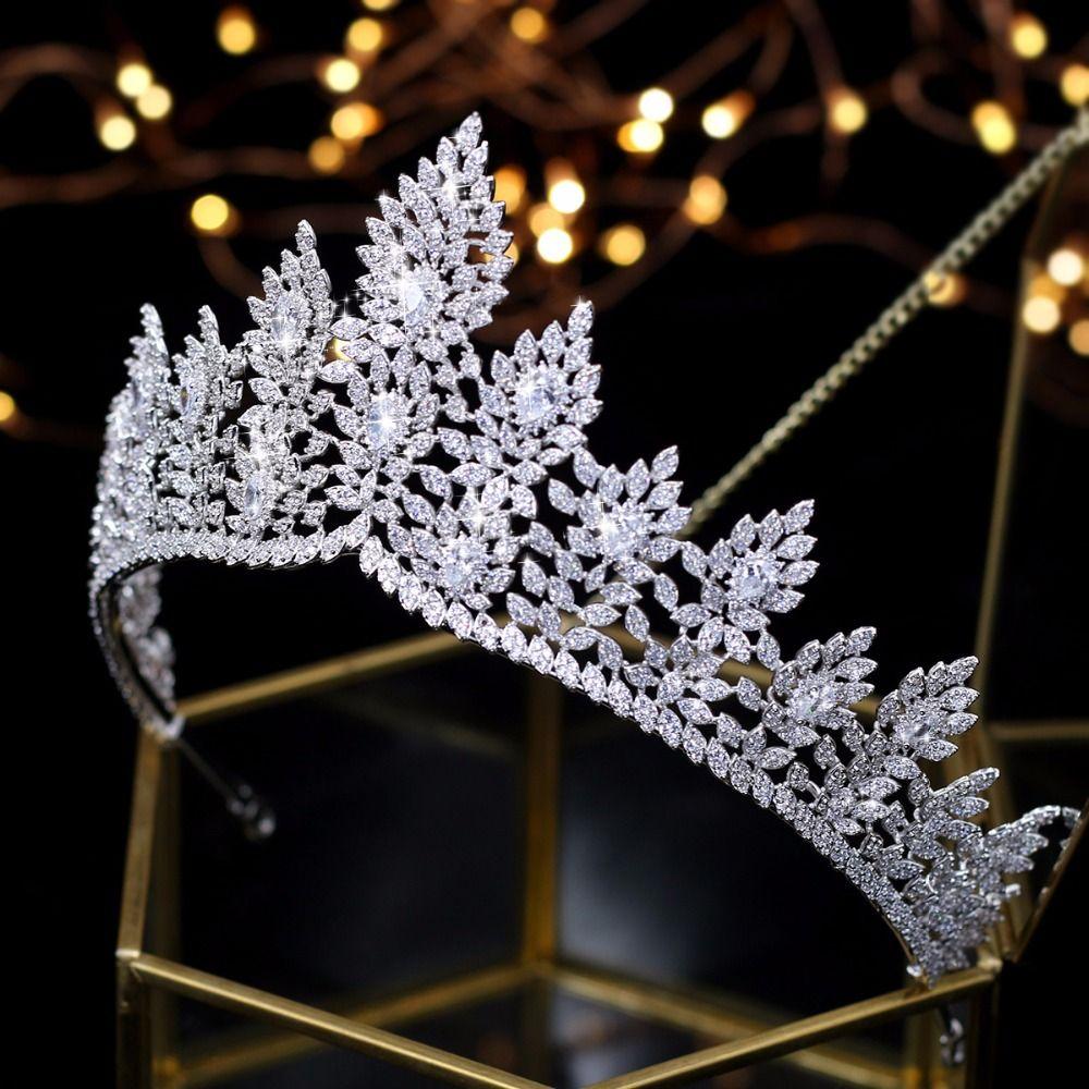 Fashional Hochzeit Tiaras Zirkonia Frauen Braut Crown Hochzeit Haar Zubehör Quinceanera Kopfstück