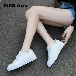 2018 Mode Kanvas Sepatu Wanita Vulkanisasi Sepatu Wanita Merek Sepatu Sneakers wanita Bernapas Flat Kasual putih # LL & 1821