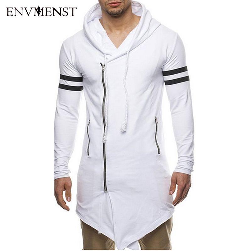 Asiatique Taille De Mode Hommes de Long Noir Asymétrie de Fermeture Éclair À Capuchon T shirt Hommes Avec Fermeture Éclair Latérale À La Palangre Hip Hop streetwear Shirt