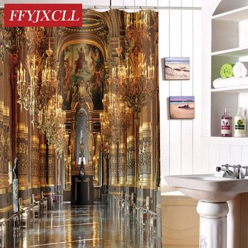 Home Decoration Luxury Palace Print Polyester Fabric Modern Shower Curtain Eco-Friendly Waterproof Bathroom Curtain
