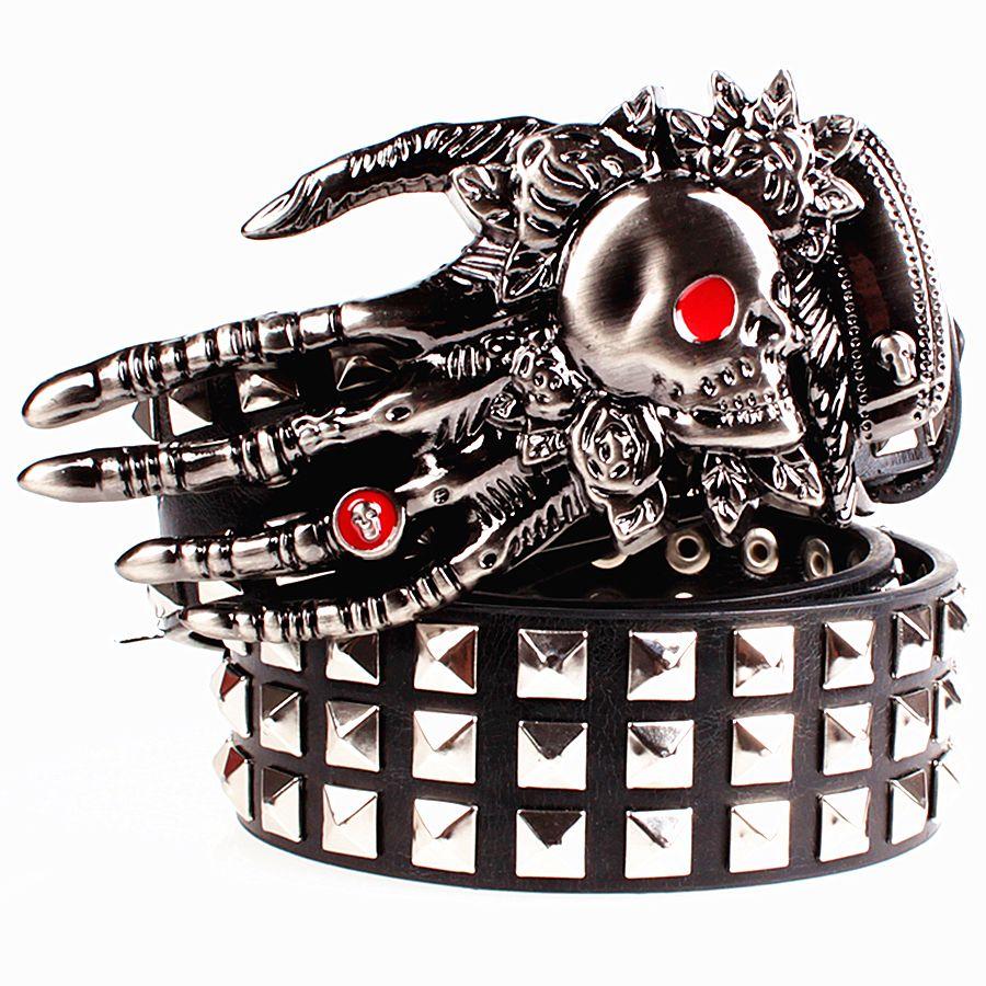 Fashion men's leather belt Punk belt skull ghost claw heavy metal <font><b>wide</b></font> belts hip hop dancing big rivet belt Men Gift for women
