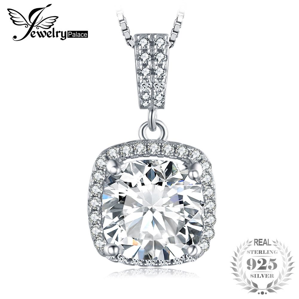 JewelryPalace Cushion 3ct Halo Solitaire Pendant 925 Sterling Silver Not Include a Chain Fine Jewelry For Women