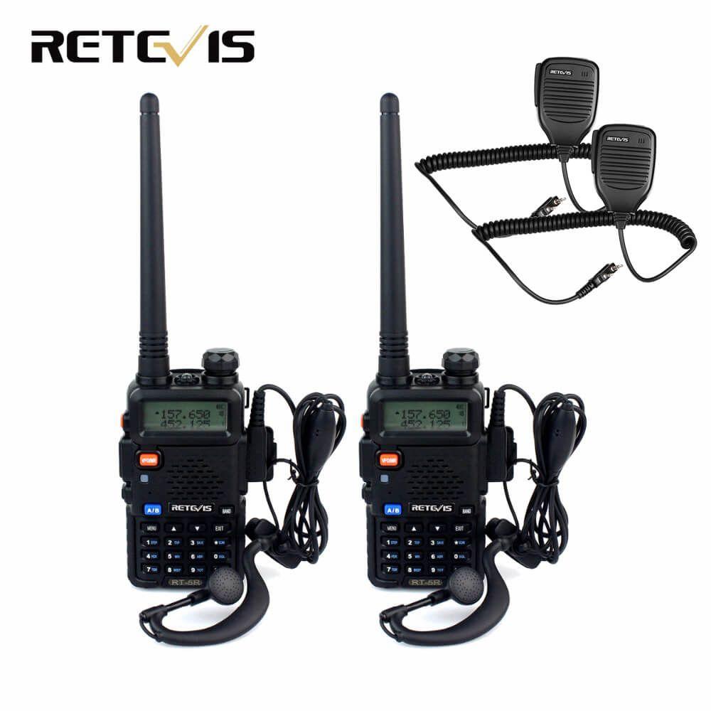 2 pcs Talkie Walkie Retevis RT5R + 2 pcs Haut-Parleur Microphone 5 W 128CH Dual Band UHF VHF Radio De Poche émetteur-récepteur Talkie-walkie